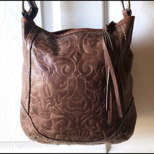 Fossil Winslet Brown Embossed Tooled Crossbody Bag